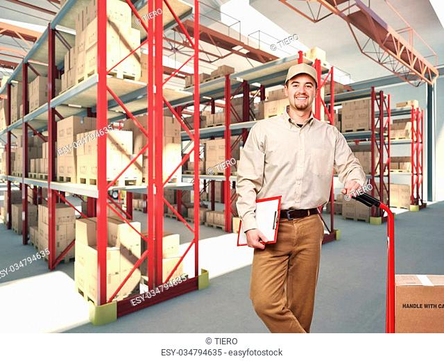 worker in a classic warehouse
