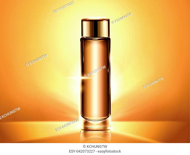Golden toner bottle mockup, blank cosmetic container template for design use, shiny background in 3d illustration