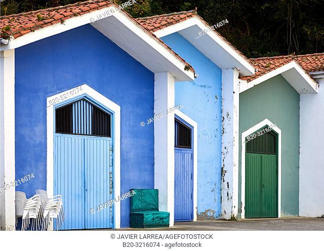 Fishing shanties, Port, Mutriku, Gipuzkoa, Basque Country, Spain, Europe