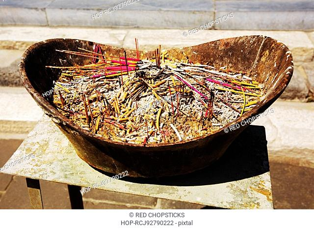 Incenses in a container, Da Zhao Temple, Hohhot, Inner Mongolia, China