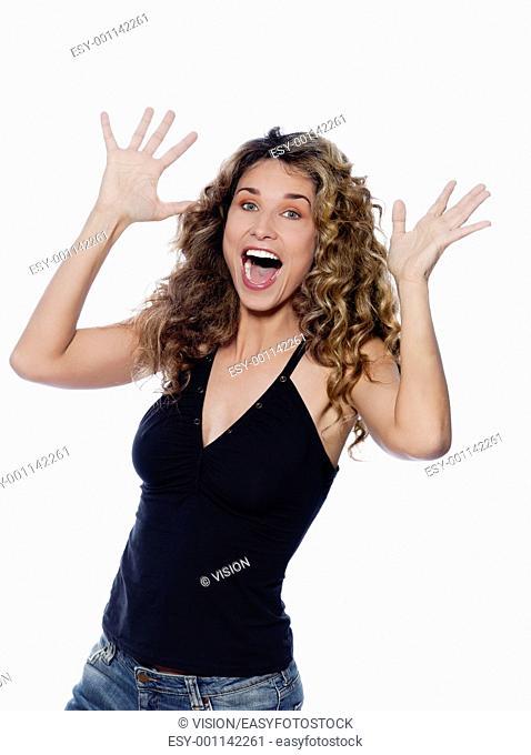 beautiful caucasian woman happy portrait isolated studio on white background
