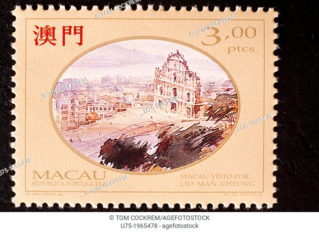 macau postage stamp with historic theme in studio setting