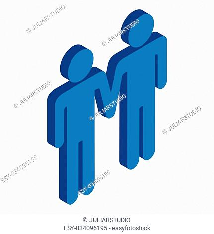Gay couple holding hands isometric 3d icon on a white background