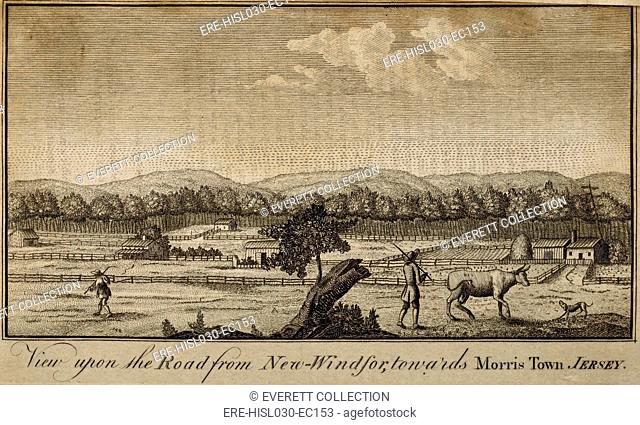 New Jersey scene. 'Road from New Windsor towards Mossis Town Jersey' Morristown New Jersey . 1787 American engraving from The Columbian Magazine