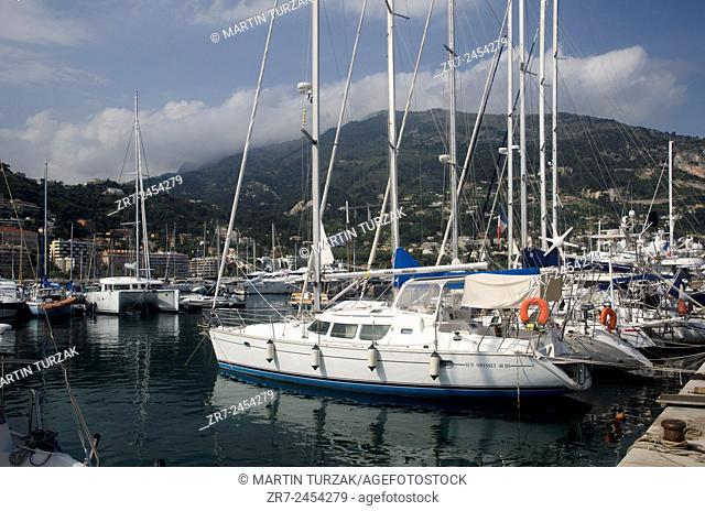 Moored yachts in Menton's harbour, Cote d'Azur, France