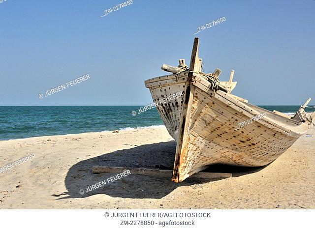 Wooden ship of Omanis on the island of Masirah, Sultanate of Oman