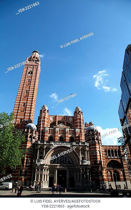 Westminster Cathedral from Victoria Street, London UK