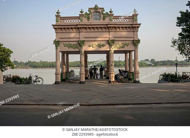 The bandstand at Strand, on the promenade overlooking the river Ganges (Hooghly), is a major tourist attraction in Chandernagore (Chandannagar), West Bengal