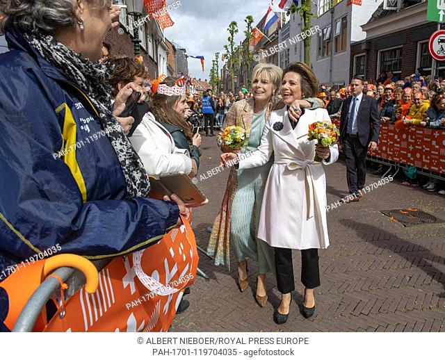 Princess Laurentien and Princess Annette in Amersfoort, on April 27, 2019, to attend the Koningsdag (Kingsday) celebration, the Kings birthday