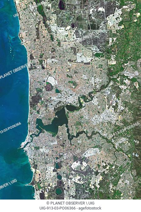 Colour satellite image of Perth, Australia. Image taken on August 6, 2014 with Landsat 8 data