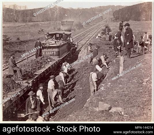 Excavating for Y at Devereaux Station, Orange & Alexandria Railroad. Artist: Andrew Joseph Russell (American, 1830-1902); Former Attribution: Mathew B