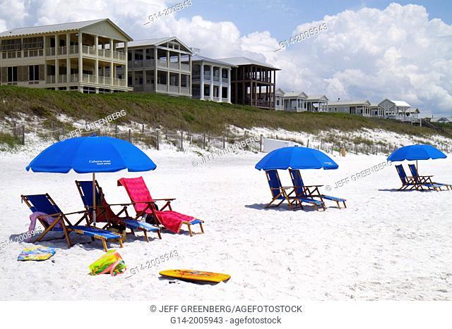 Florida, Seaside, master-planned community, New Urbanism, beach, Gulf of Mexico, coast, umbrellas, white sand,