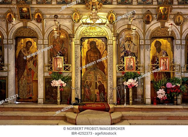Greek Orthodox altar in the monastery church, monastery of Panagia Theotokos tis Paleokastritsas or Panagia Theotokos, Paleokastritsa, Corfu, Ionian Islands