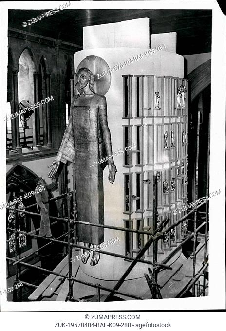 Apr. 04, 1957 - New Epstein statue unveiled at Llandaff Cathedral. Removing the Scaffolding from a round 'The Majestas': The latest work by Sir Jacob Epstein a...