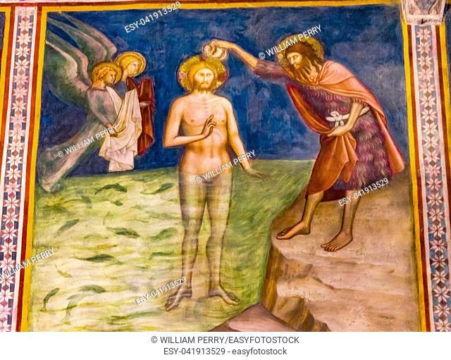 John the Baptist Jesus Christ Baptism Medieval Renaissance Fresco Collegiate Church of Santa Maria Assunta San Gimignano Tuscany Italy