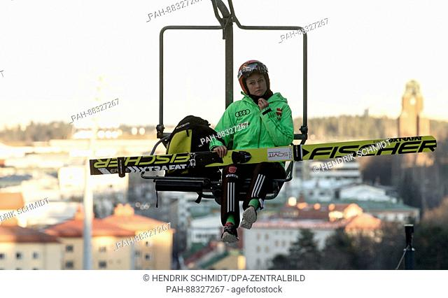 German ski jumper Carina Vogt in a ski lift on her way to a training run on the regular ski jumping hill ahead of the 2017 FIS Nordic World Ski Championships in...