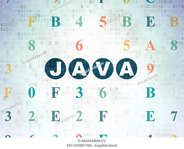 Programming concept: Java on Digital Data Paper background