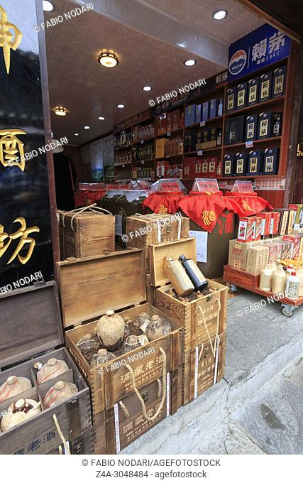 Store selling the famous Maotai sorghum liquor in Qingyan ancient town in Guizhou, China