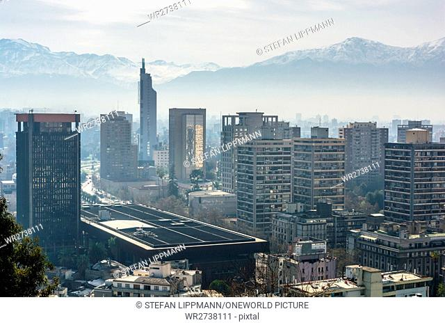 Chile, Región Metropolitana, Santiago, Chile, view from Cerro Santa Lucia to the city