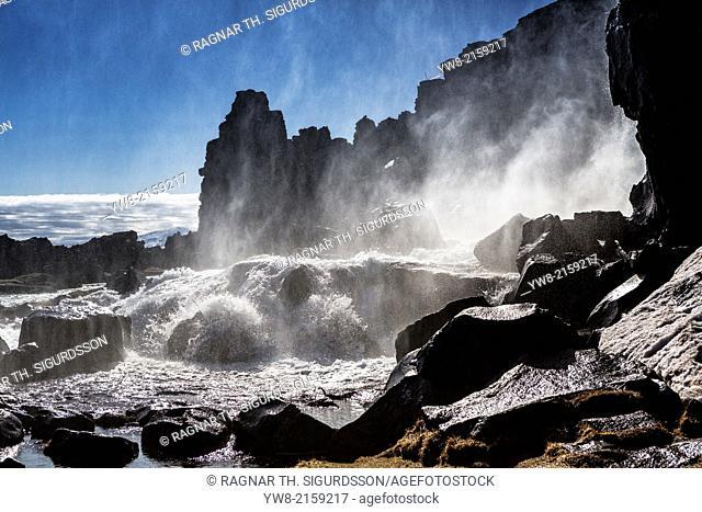 Oxararfoss Waterfalls, Thingvellir National Park, Iceland