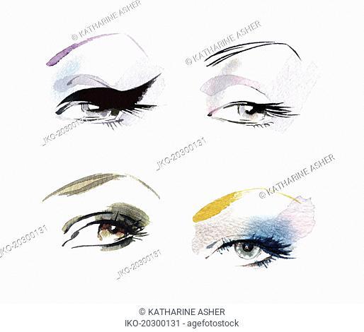 Close up of eyes wearing different eye makeup