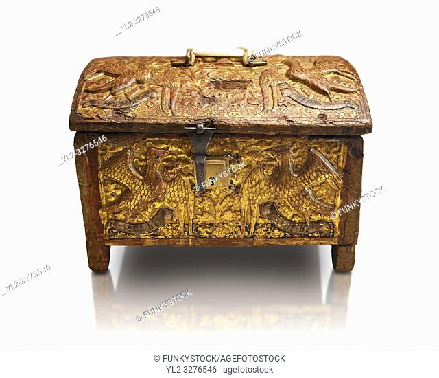 Gothic box made from poplar wood with stucco reliefs, gold leaf gold decorations and traces of polychrome iron and brass 2nd quarter 15th century
