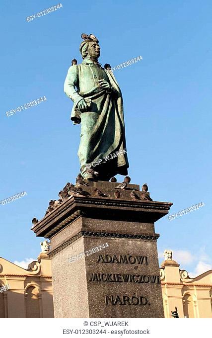 Krakow - the sculpture of Adam Mickiewicz