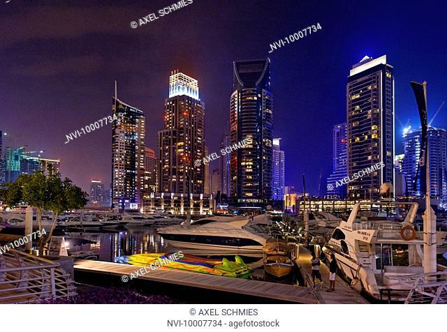 Spectacular skyline at night, Dubai Marina, Dubai, United Arab Emirates, Middle East