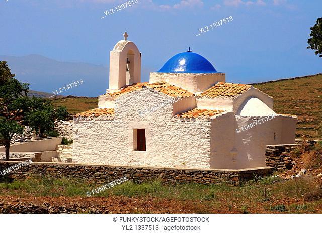 Exterior of the rare 12th Century Greek Orthodox Byzantine Church of the Ayioi Apstoloi  pst, Holy Apostles Katomeria, Kea, Greek Cyclades Islands