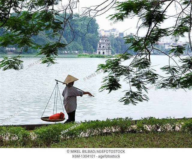 Turtle tower in Hoan Kiem Lake  Hanoi, Vietnam