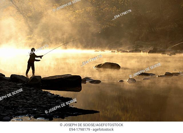 Silhouette profile of a young woman casting with a fly fishing rod by a stream early in the morning, north central, Alabama, USA