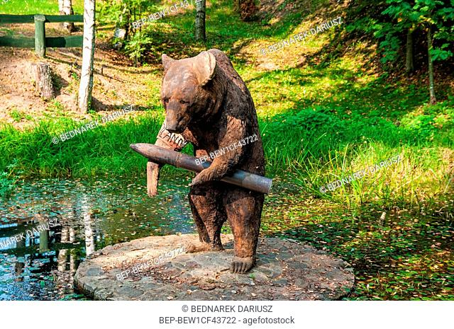 Wojtek the Soldier Bear statue. Centre for education and regional promotion. Szymbark, village in Pomeranian Voivodeship, Poland