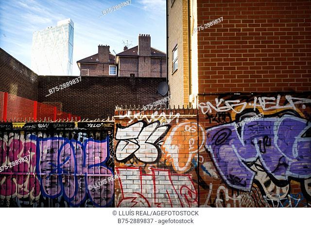 Graffiti on wall. Grey Eagle St. East End, London, England