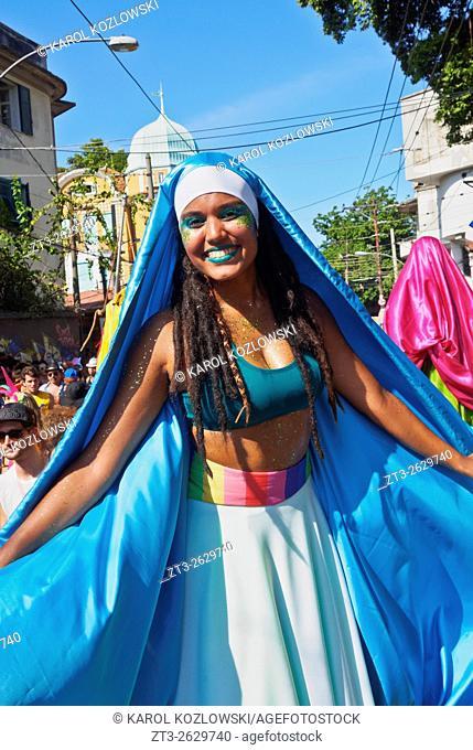 Brazil, State of Rio de Janeiro, City of Rio de Janeiro, Santa Teresa, Traditional Carnival Parade Bloco das Carmelitas.