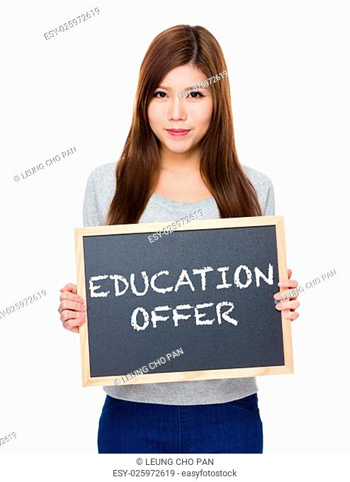 Asian woman hold with blackboard showing education offer