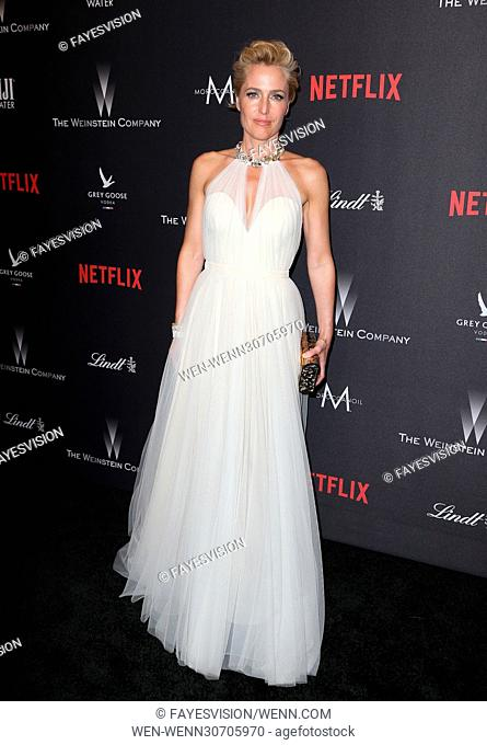 The Weinstein Company And Netflix Golden Globes Party Featuring: Gillian Anderson Where: Beverly Hills, California, United States When: 08 Jan 2017 Credit:...
