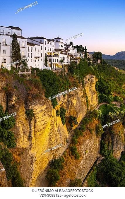 El Tajo gorge. Monumental city of Ronda. Malaga province Andalusia. Southern Spain Europe