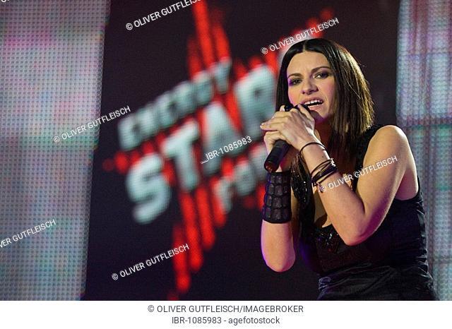 Italian pop singer Laura Pausini live at the Energy Stars For Free in the Zurich stadium, Switzerland