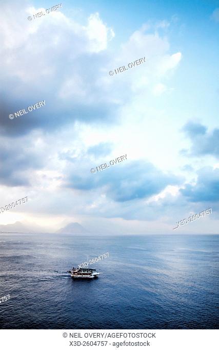 Boat out to Sea, Antalya, Turkey