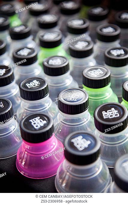 Plastic bottles at the African market in town center, Santa Cruz de Tenerife, Tenerife, Canary Island, Spain, Europe