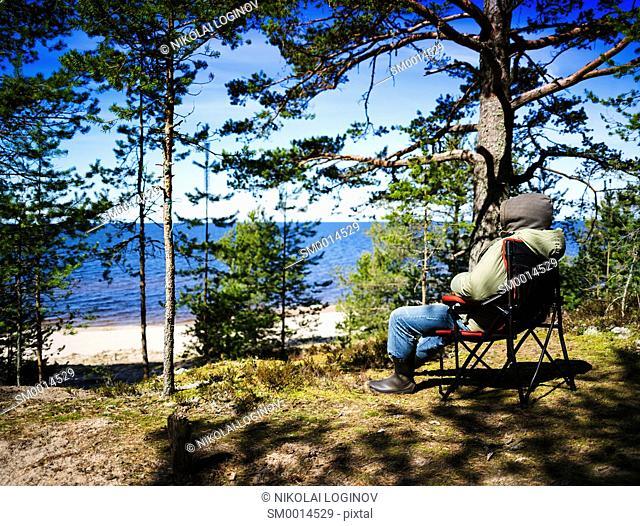 Horizontal vivid lonely traveller landscape nature background backdrop