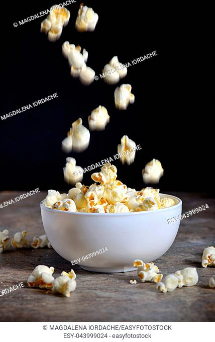 Homemade Popcorn on wooden table