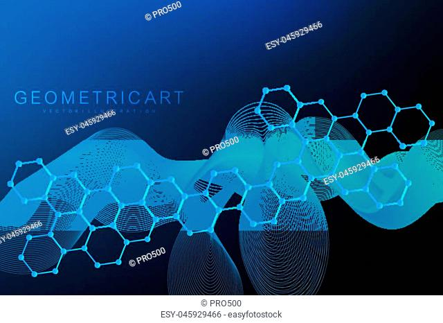 Modern futuristic background of the scientific hexagonal pattern. Virtual abstract background with particle, molecule structure for medical, technology
