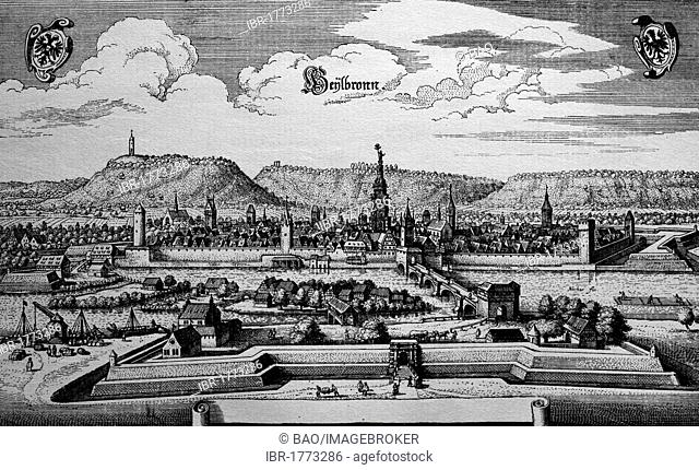 Heilbronn, Germany, in the 17th century, historical steel engraving