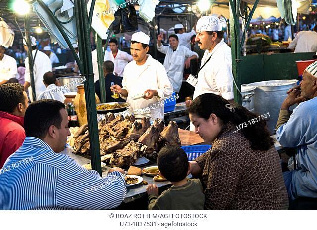 Sheep head dinner at the night market in Marrakesh's Djema el fna sq