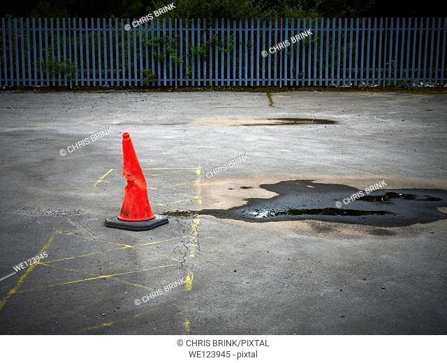 Lost traffic cone on parking plot, UK