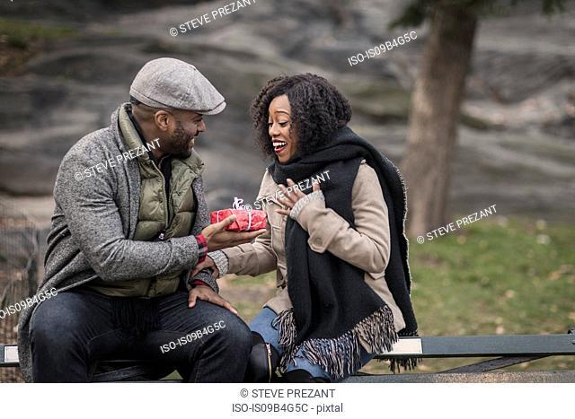 Romantic man handing girlfriend a gift in park