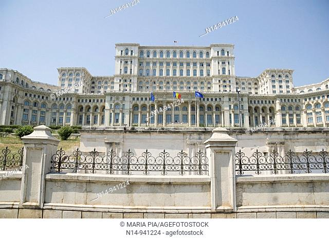 Fachade of The Palace of Parliament, Casa Poporului (House of the People), Bucharest. Romania