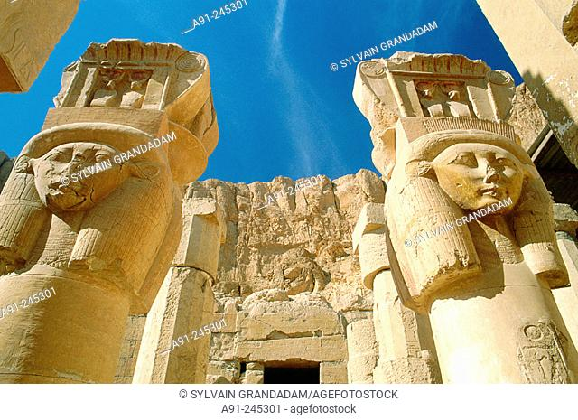 Columns representing goddess Hathor in Queen Hatshepsut Temple. Luxor. Egypt