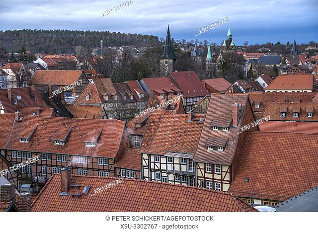old town seen from above, Quedlinburg, Saxony- Anhalt, Germany